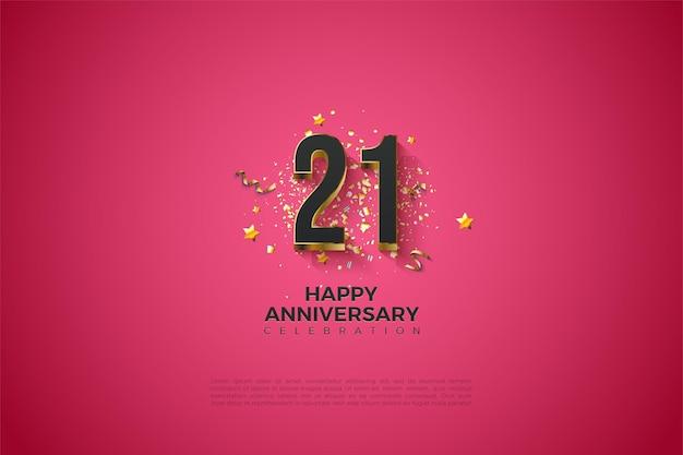 21e verjaardag achtergrond met dikke vergulde cijfers.