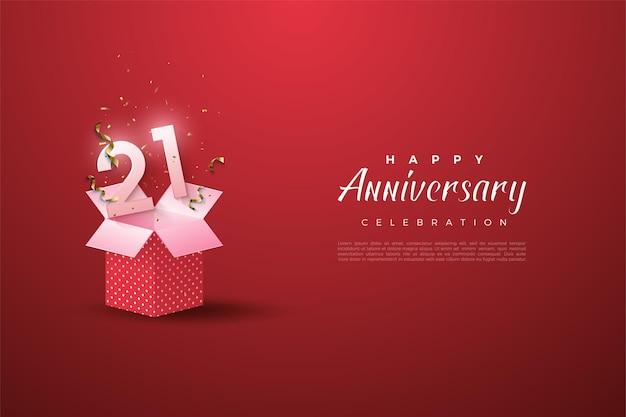 21e verjaardag achtergrond met een aantal illustratie op een open geschenkdoos.