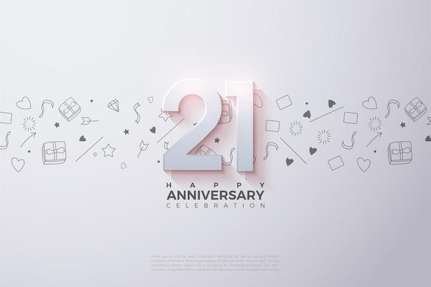 21e verjaardag achtergrond met een vervaagde nummer illustratie bovenaan.