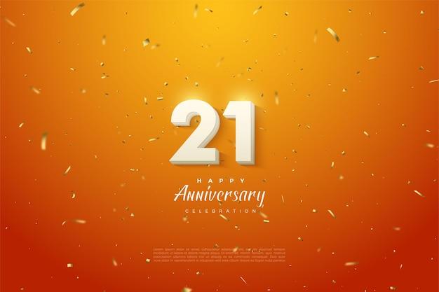 21e verjaardag achtergrond met getallen die in het midden uitstralen.