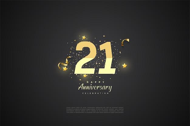 21e verjaardag achtergrond met getallen.