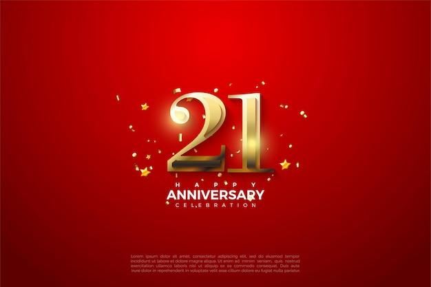 21e verjaardag achtergrond met glanzende gouden cijfers op rode achtergrond.