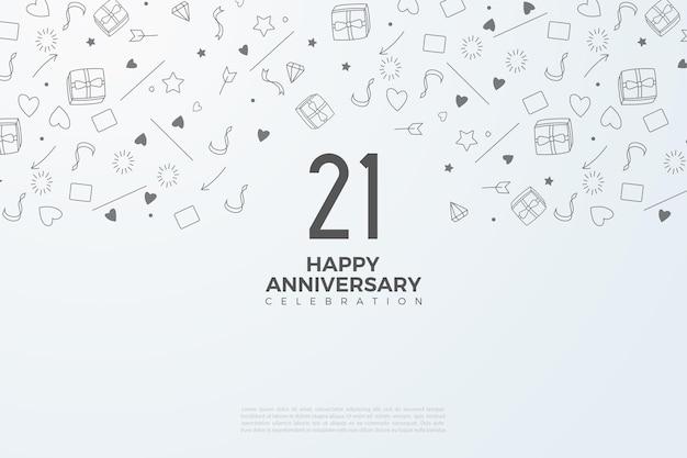 21e verjaardag achtergrond met kleine geïllustreerde achtergronden.
