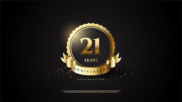 21e verjaardag met een gloeiend gouden nummer in de cirkel.