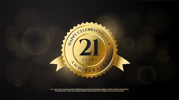 21e verjaardag met een gouden cirkel illustratie met het nummer 1 gekleurd in goud.