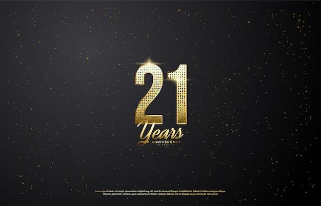 21e verjaardag met gloeiende gouden cijfers.