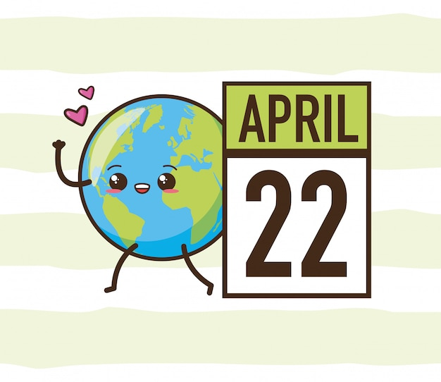 22 april aardedag, kawaii planeet, illustratie