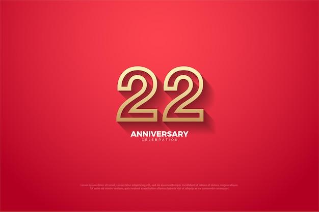 22e verjaardag met bruine omrande cijfers