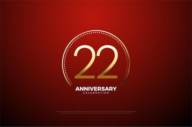 22e verjaardag met gouden cijfers en cirkelvormige strepen