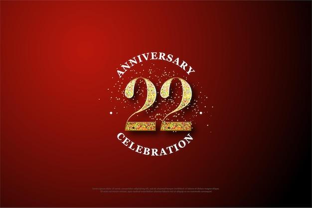 22e verjaardag met nummer gevormd uit glitter