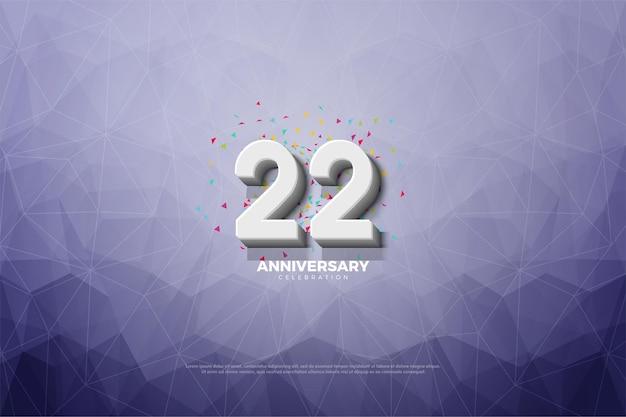 22e verjaardag met nummer op kristalpapier