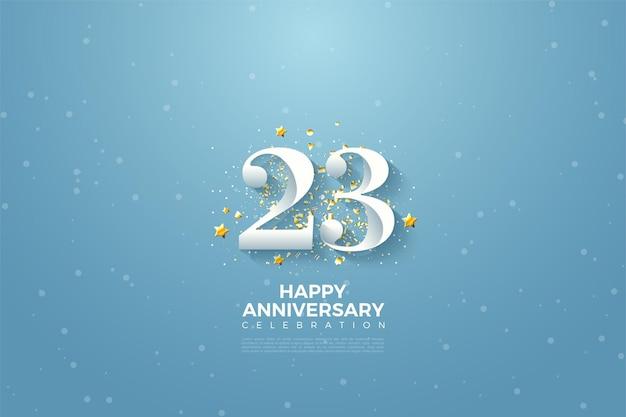 23e verjaardag met cijfers en afbeelding achtergrond over de blauwe hemel