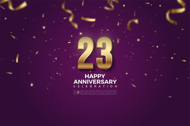 23e verjaardag met illustratie van nummers die door gouden linten zijn gedaald