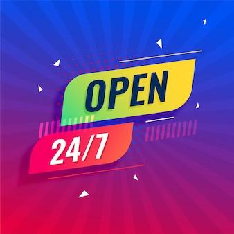 24/7 open alle dagen moderne uithangborden