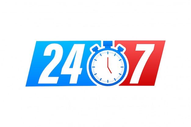 24-7 serviceconcept. 24-7 open. pictogram voor ondersteuningsservice. stock illustratie.