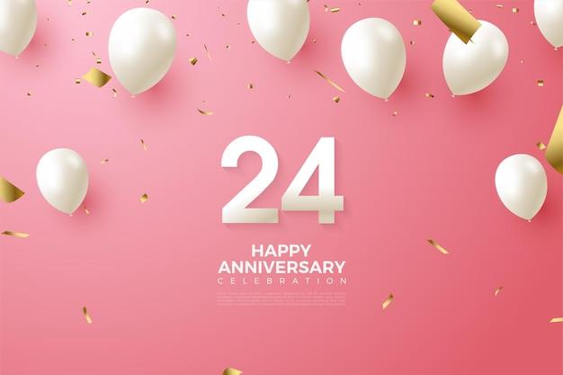 24-jarig jubileum met cijfers en ballonnen