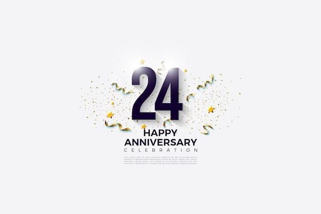 24-jarig jubileum met cijfers versierd met snuisterijen