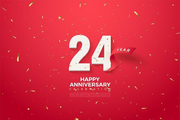 24-jarig jubileum met een rood lint op de achterkant