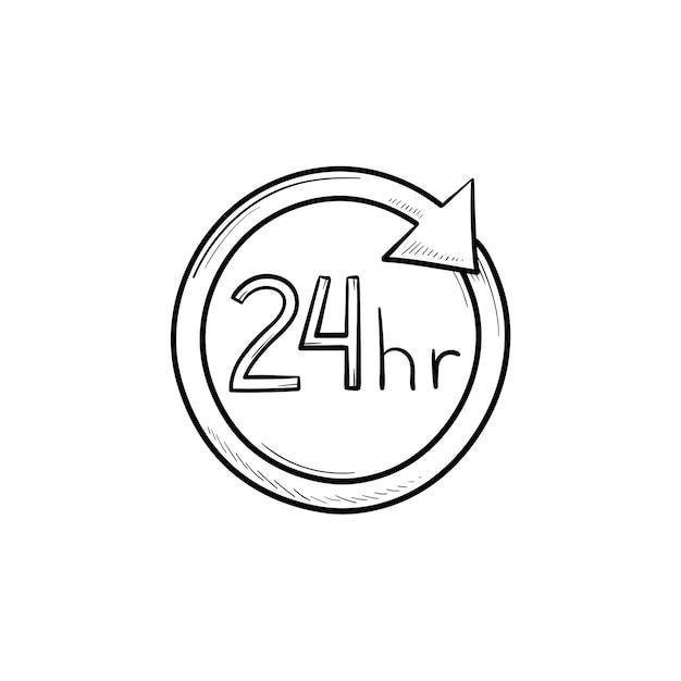 24 uur beschikbaar cirkel hand getrokken schets doodle pictogram. klantenservice, assistentie, open, leveringsconcept