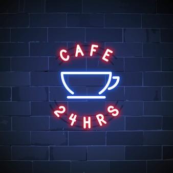 24 uur cafe neon teken vector