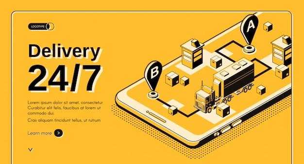 24 uur per dag vrachtvervoersbedrijf, lijndienst isometrische vectorwebbanner