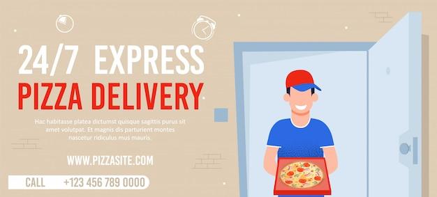 24-uurs express pizza bezorger advertentie
