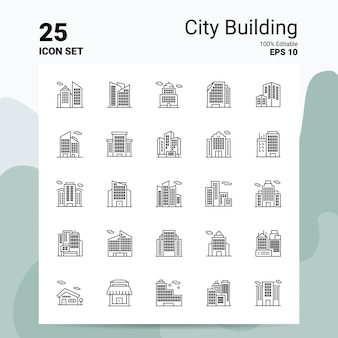 25 city building icon set business logo concept ideeën lijn pictogram