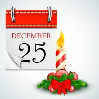 25 december geopende kalender met kaars