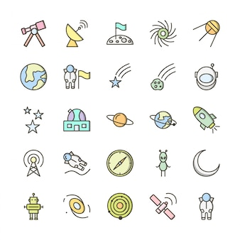 25 icon set van astronomie