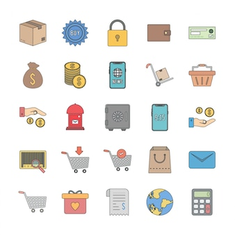 25 icon set van e-commerce