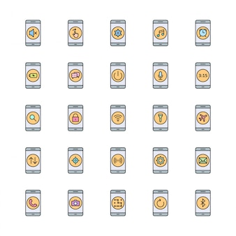 25 icon set van mobiele apps