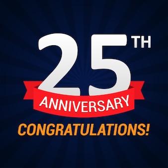 25 jaar jubileumfeest met rood lint