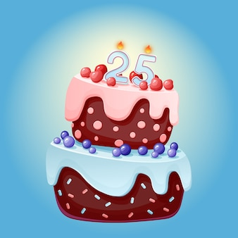 25 jaar verjaardag cute cartoon feestelijke taart met kaars nummer vijfentwintig. chocoladekoekje met bessen, kersen en bosbessen