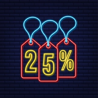 25 procent korting verkoop korting neon tag kortingsaanbieding prijskaartje 25 procent kortingspromotie