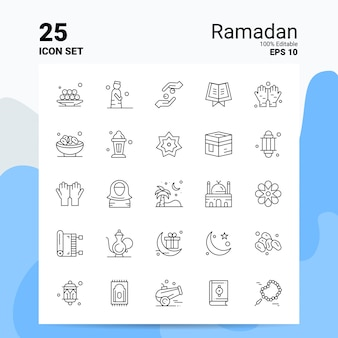 25 ramadan icon set business logo concept ideeën lijn pictogram