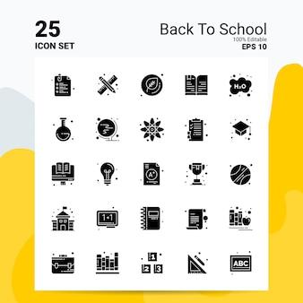 25 terug naar school icon set bedrijfslogo conceptideeën solide glyph-pictogram