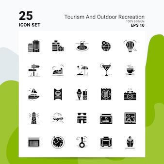 25 toerisme en buitenrecreatie icon set bedrijfslogo conceptideeën solide glyph-pictogram