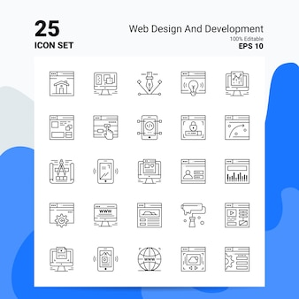 25 web- en ontwikkeling icon set business logo concept ideeën lijn pictogram Gratis Vector
