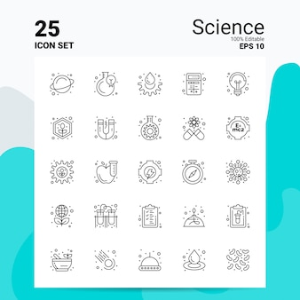25 wetenschap icon set business logo concept ideeën lijn pictogram