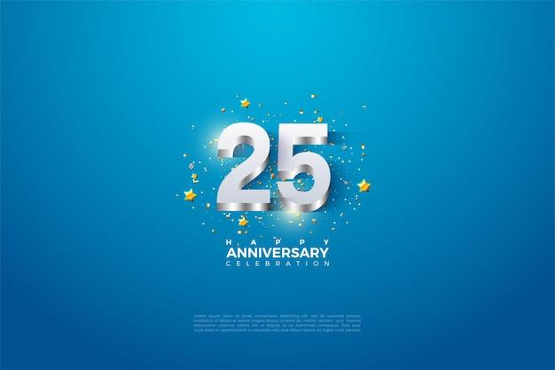 25e verjaardag achtergrond met nummers 3dimensi die voortvloeien uit een glanzend zilver.