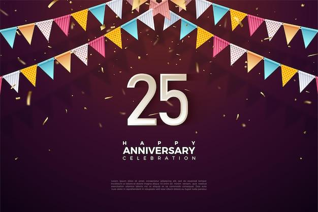25ste verjaardag achtergrond met nummer illustratie onder kleurrijke vlaggen.