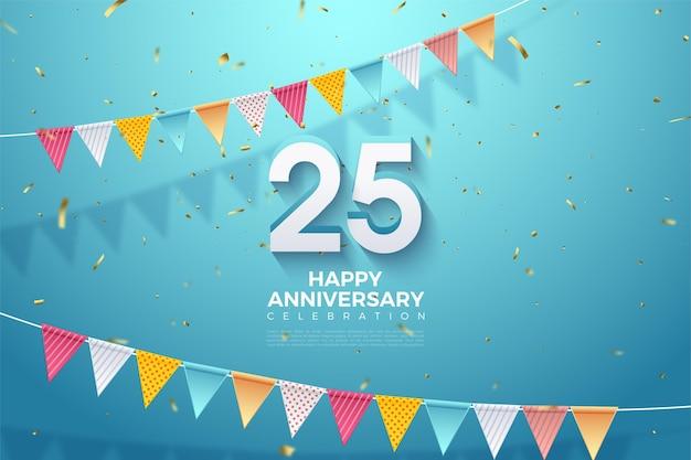 25ste verjaardag achtergrond met reliëf 3d-nummers en kleurrijke vlaggen.