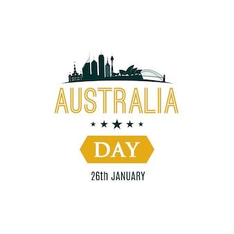 26 januari happy australia day-banner met tekst en stadslandschap van sydney