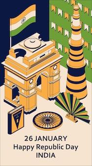 26 januari india republiek dag. wenskaart in isometrische stijl met indiase poorten.