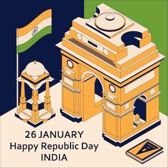 26 januari india republiek dag. wenskaart in isometrische stijl met indiase poorten