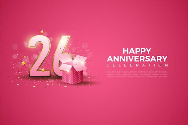 26e verjaardag met illustratie van cijfers en geschenkdoos