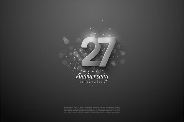 27e verjaardag achtergrond met overlappende 3d-zilveren nummers.