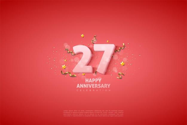 27e verjaardag achtergrond met zachte witte cijfers.