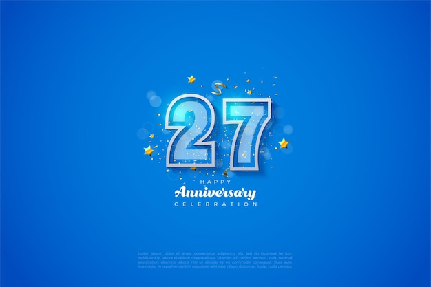 27ste verjaardag achtergrond met dubbele cijfers en witte rand.