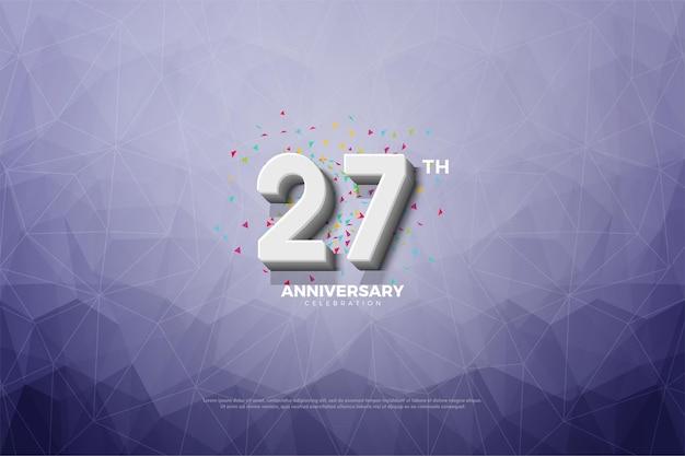 27ste verjaardag achtergrond met kristal papier achtergrond.